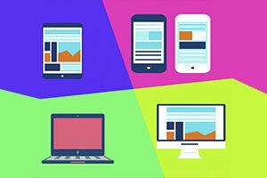 Icons auf buntem Hintergrund stellen verschiedene digitale Verarbeitungsgeräte dar, wie z. B. Smartphones, Tablet, Laptop und Desktop PC.