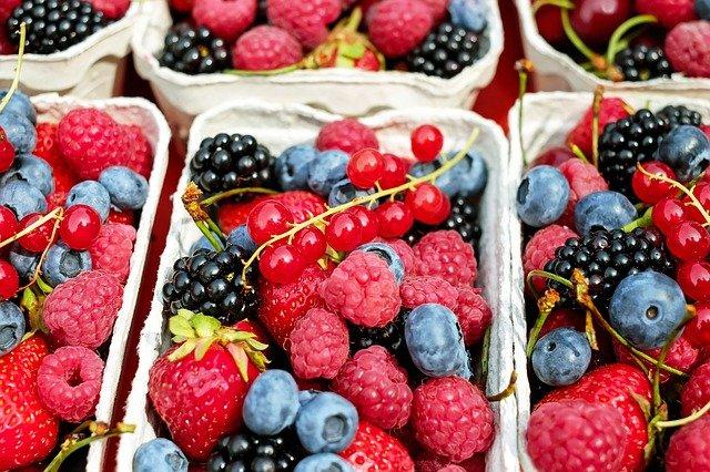 Pappschalen mit einer bunten Fruchtmischung aus Himbeeren, Brombeeren, Erdbeeren, Heidelbeeren und Johannisbeeren.