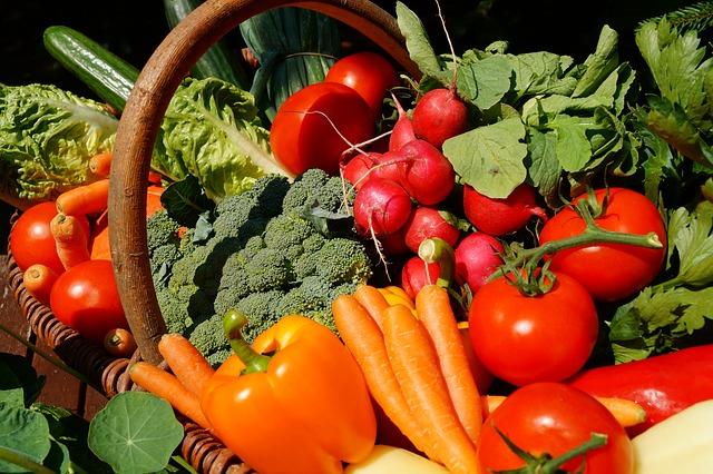 Korb voller Gemüse mit Tomaten, Paprika, Radieschen, Karotten, Blumenkohl, Salat, Gurken, Lauchzwiebeln, Rüben. Außerdem Kräuter wie Kapuzinerkresse und Liebstöckel.