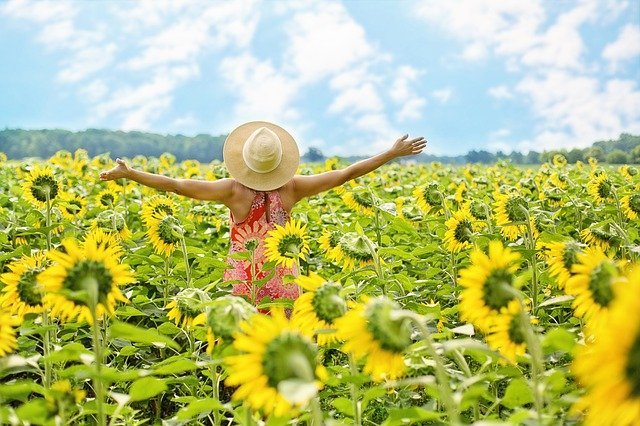 Frau mit Sonnenhut und ausgebreiteten Armen im Sonnenblumenfeld.